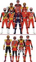 All Super Sentai and Power Rangers 'Other Reds' by Taiko554