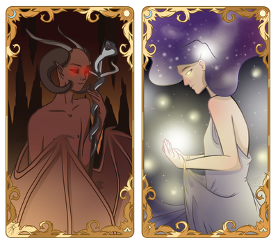 Tarot Cards: The Devil and The Star by JETFPLOVE