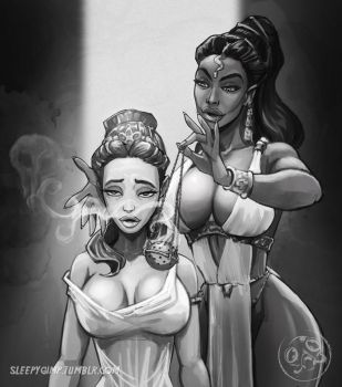The young queen and the snake priestess by sleepygimp