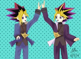 Point Comm. Yami and Yugi High Fiving! by Artworx88