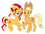 Sunset Shimmer and Applejack by Iris5263