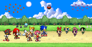 Sonic and his friends meet the Powerpuff Girls by BeeWinter55