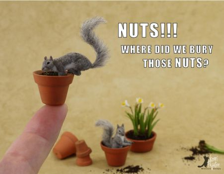 Miniature Grey Squirrel sculptures by Pajutee
