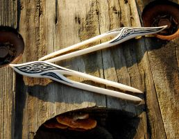 Two Celtic Hair Forks by Wyrdhaven