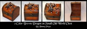 Ooak Polymer Clay Brown Dragon on Old World Chest by Tpryce