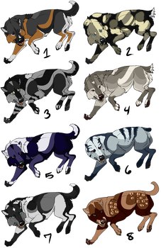 .:Wolves adoptables 2018 chart 3:. Open! (8/8) by DarkWolf-ART