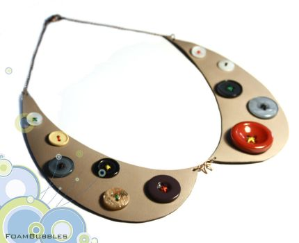 Leather Collar Necklace with buttons by FoamBubbles