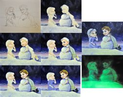 Elsa and  Anna WIP collage by NickMears