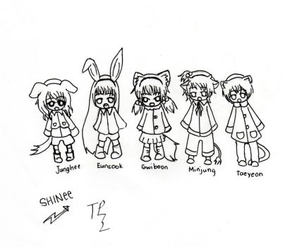 SHINee chibi girl version by TroubledPrince