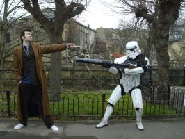 10th Doctor Vs Stormtrooper by lunamaxwell