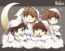 Chibi Beatles in Pajamas X3 by PepperMoonFlakes
