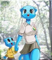 gumball and his mom by Usappy-BarkHaward