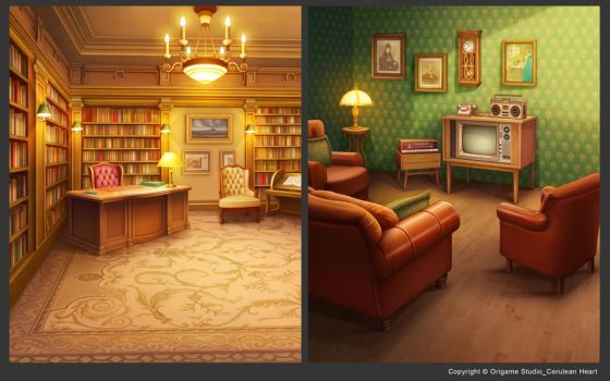 Library+Old Style Living Room by CiCiY