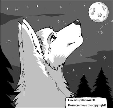 Free wolf lineart by Kipine