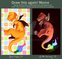 [Meme] Draw this again - Misha the Charmander by TwainKitty