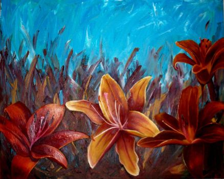 lilies in field by JessicaSoulier