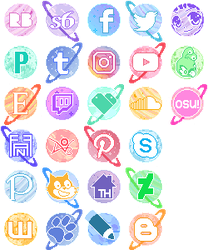 Pastel Planet Buttons by King-Lulu-Deer
