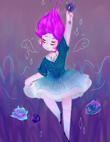 Falling girl with flowers by bubbfish