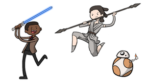 Fanart: Finn, Rey, and BB-8 Adventure Time Style by Saber-Cow