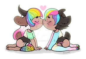 Candy and Bonbon kiss! by Kris-Goat