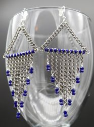 Earrings: blue glass and lots of chain by LissaMonster