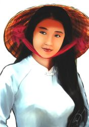 Asian girl with hat by Gabrielnotsuki