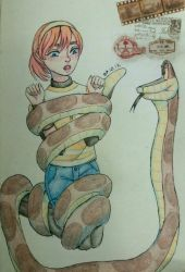 Kaa wrapping April for Megasonicmanlover by Arikava-Yuuichi