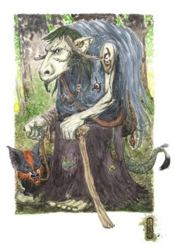 Herg the Troll Witch and her Fodger familiar by JayPenn