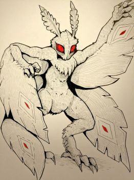 Inktober Day 20 - Mothman by SarahRichford
