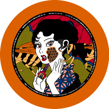 Bees and a  woman of Japan in old fashion by tutumi