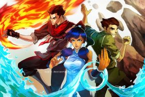 Badass Korra and co. by cypritree