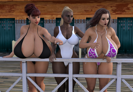 Abigail, Echo and Brandy look out to sea. by ReverendT69