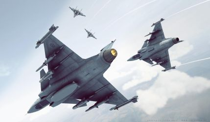 JAS Gripen and SU27 Flanker by bazze