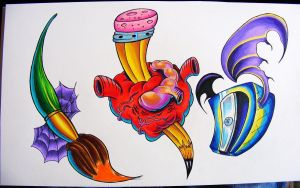 heart and pencil tattoo flash by robspider