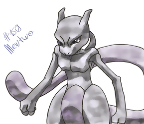 Mewtwo Color Sketch by dominekkas