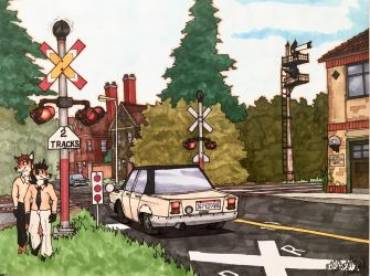Red Fox Grade Crossing without barriers  by ArtRock15