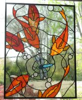 Koi Stained Glass Panel 2 by trilobiteglassworks
