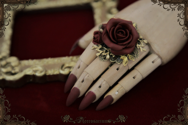 Rosarium Ring - Dark Wine Red - M1517 2 by Necrosarium