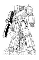 Megatron commission lineart by markerguru