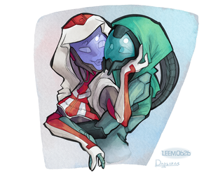 Quarian Cuddles [by Leemo626 and Darbaras] by CrazyZel