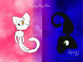 My two kittys Mindy and Callie by MindyMooMoo