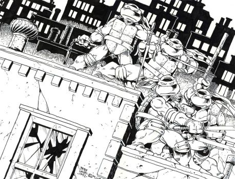 TMNT issue 1 cover recreation ink - Larid - Egli by SurfTiki