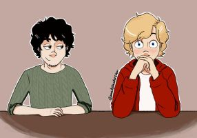 Enjolras and Grantaire in class. by AnnaWinchester
