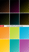 Colorful Halftone Dots Background Vector Pack by 123freevectors