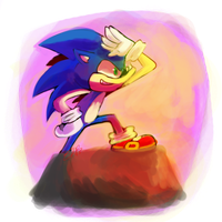 sonic lookin' over yonder by bellyboltz