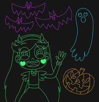 Star and Halloween stuffs are glow in the dark by Deaf-Machbot