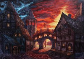 Medieval town (port street) by Ezorh