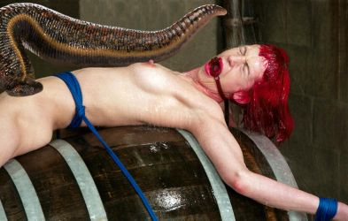 Manip: Giant leech on tied wet naked woman by wsaef