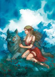Girl and wolf by Morgan-chane