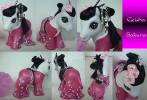 My little Pony Custom G3 Geisha Sakura by BerryMouse